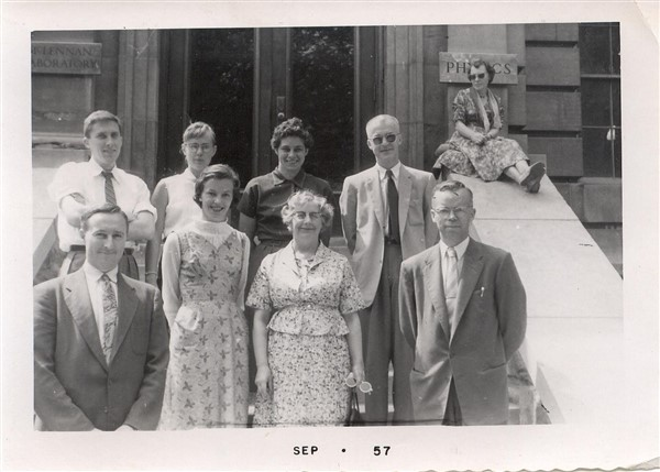 Last known FERUT crew at UofT, 1957. Front row, L to R, Stuart Baxter, Edith (Laurie( Davis, unknown, Prof. Hume (?). Back row, right, David Thorp.